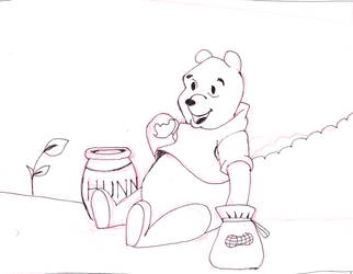 Inktober 2018  Day 03 Honey Roasted Pooh Bear by L0ni
