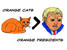Orange Cats Over Orange Presidents Shirt Design by WyreCats