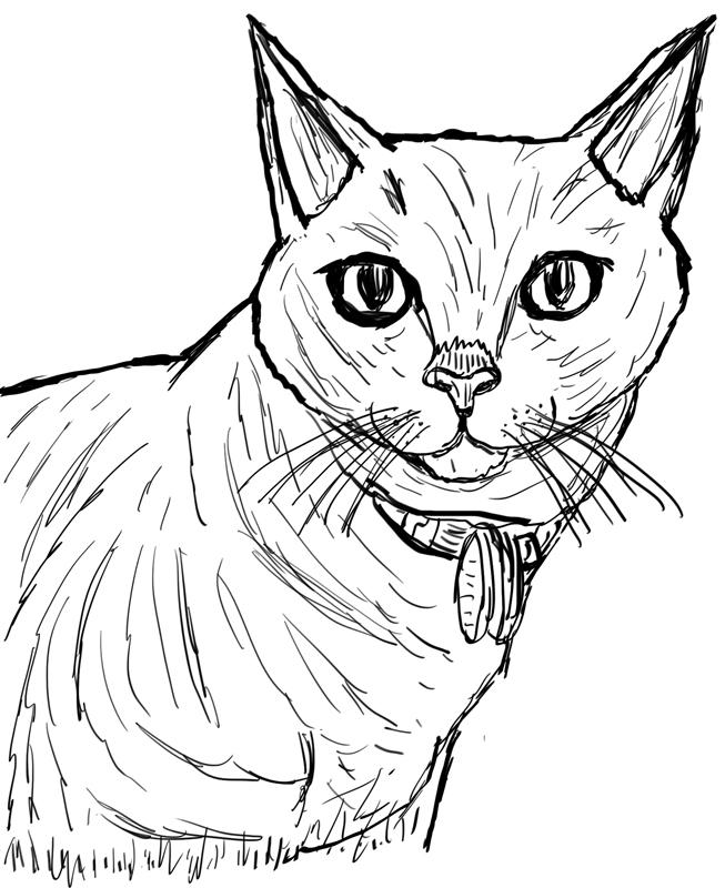 Inktober Day 10: My Cat Allie by WyreCats