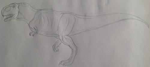 Tyrannosaurus sketch (practice) by Gryphondrake7991