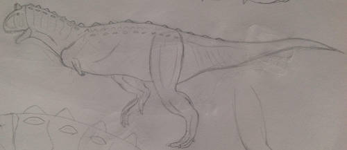 Carnotaurus sketch (practice) by Gryphondrake7991