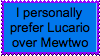 Lucario over Mewtwo Stamp by FireMaster92