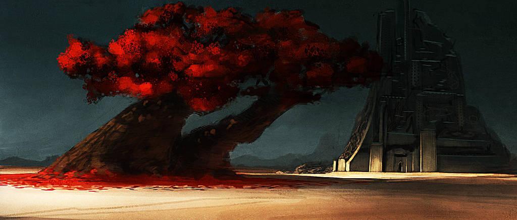 red tree by CrackBag
