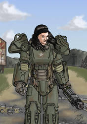 Fallout - Woman in Powerarmor by SteveNoble197