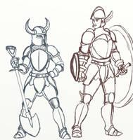 Shovel Knight and Shield Knight sketch (body swap) by SteveNoble197