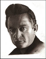 Johnny Cash Pencil Portrait by Craig-Stannard