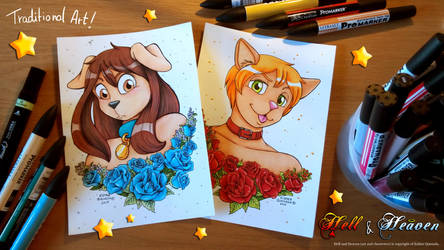 Puppy and Kitty - Traditional A5 Art by Raygirl13