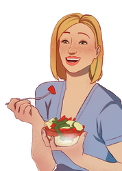 Gwen Laughing While Eating Salad by Wirls