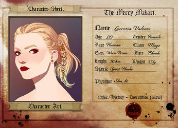 TMM: Lucretia Character Sheet by Wirls