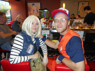 Android 18 and Krillin eating sushi by Jagarnot