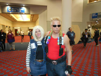 Android 18 and Duke Nukem by Jagarnot