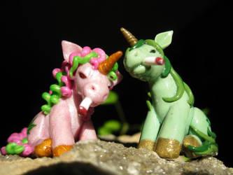 Stoney the Pony and Polly Pot Pony (front view) by DeadHeartMare
