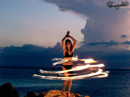 Fire Hoop On The Rocks by Burnouthappy