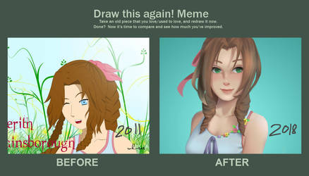 Draw this again: Aerith by Noble-Fantasy