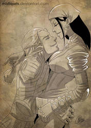 Dragon Age: Zevran and Isabela by Mistiqarts