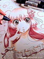 Shojo Girl Letraset Flex marker practice by Mistiqarts