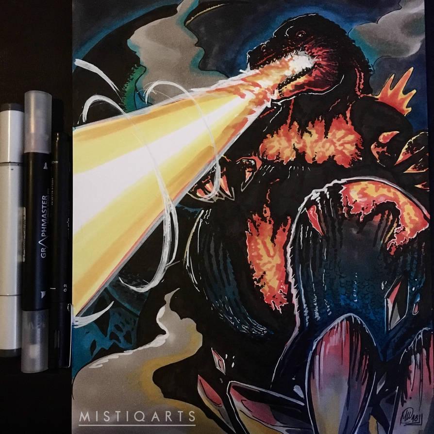 Flaming Godzilla  by Mistiqarts