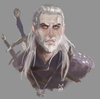 Quick sketch of Geralt by FurutaArt
