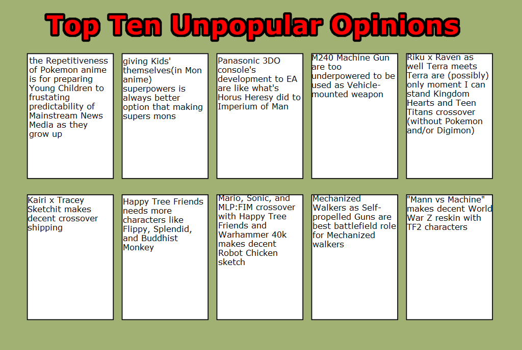Zak's Top 10 Unpopular Opinions Part 3 by masonicon
