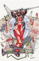 Deadpool commission colored by lazeedog