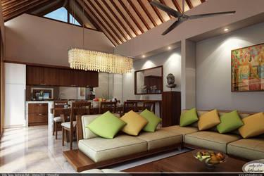 Tania villa - interior living by teknikarsitek
