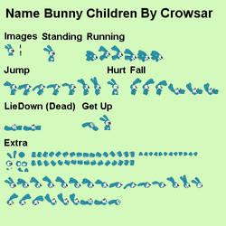 Bunny Children Sprite Sheet by CrowSar