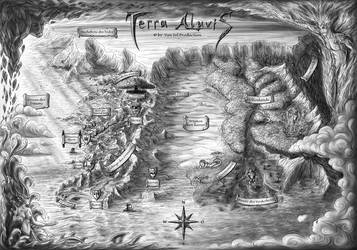 Terra Aluvis - Old Illustrated Map (german) by Van-Syl-Production