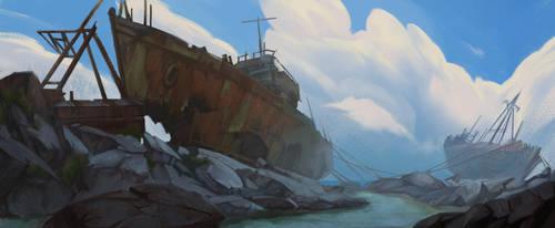 ships graveyard by blueavel