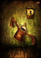 Unbridled joy beneath a portrait of a kettle by FriendlyFish