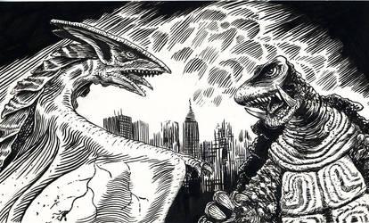 Gamera vs. Gyos by doctor-morbius