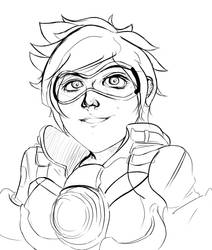 Overwatch - Tracer WIP SKETCH by Crescendolls187
