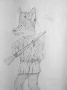 Russian soviet world war II soldier fox by minemis