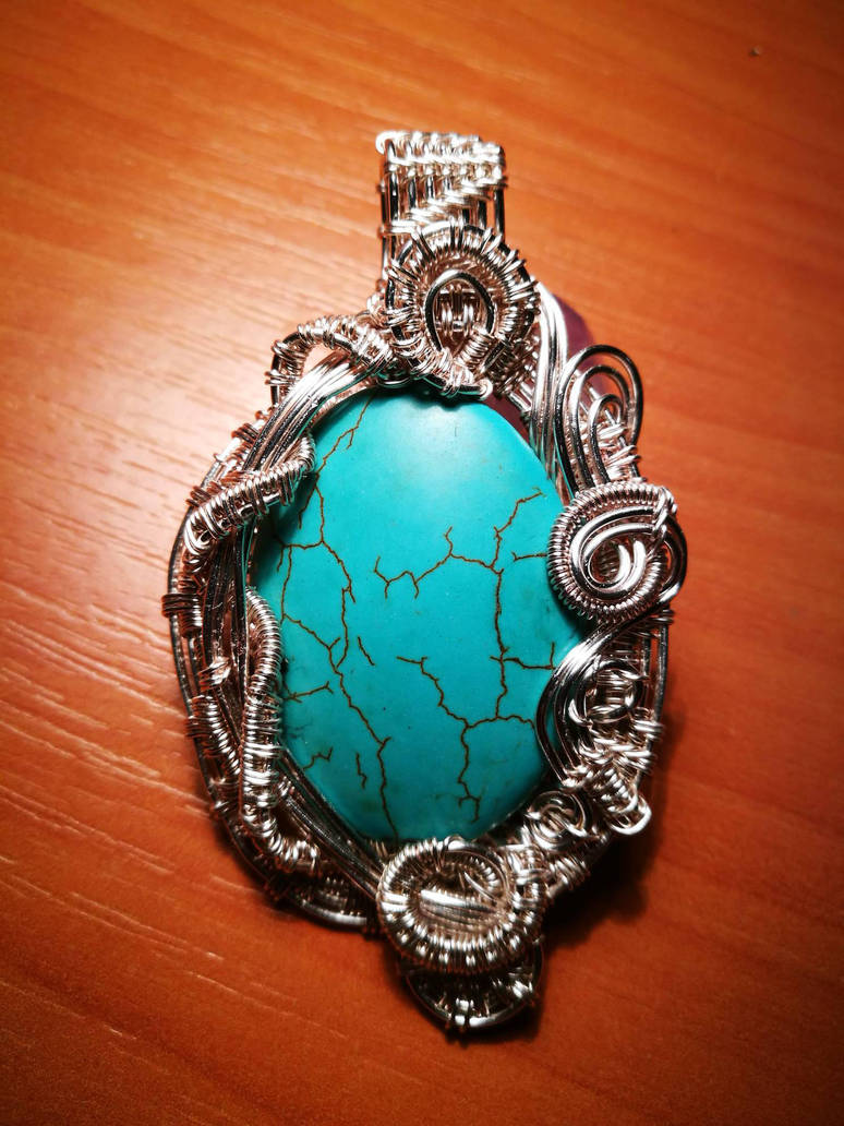 Tirquoise wire wrapped pendant by Chinagirlsz