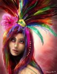 Rainbow Girl by CazziArt