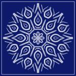 White-on-Blue Chalky Mandala by aartika-fractal-art