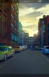 morning on the street by Voloshenko