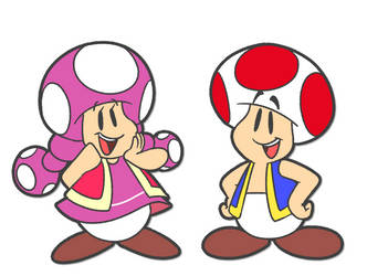 Toad and Toadette by Travis-CJ
