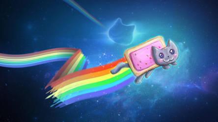 Rainbow Nyan Nyan Pop Tart Cat by Zaithy