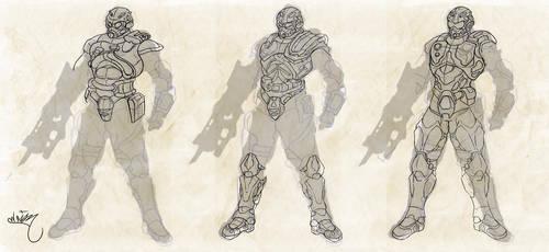 Soldado futurista Bocetos by EdiaN2d