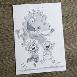 Rugrats - Tommy, Chuckie and Reptar by CrystalC33