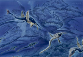 Kronosaurus-Elasmosaurus by PaleoPastori
