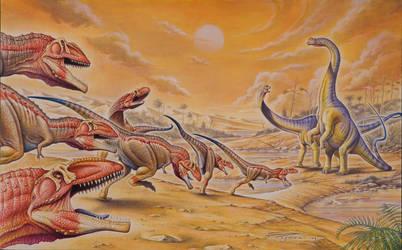 Mapusaurus vs. Argentinosaurus by PaleoPastori
