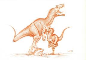 Allosaurus-adult and juvenile by PaleoPastori
