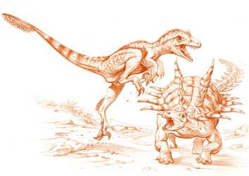 Utahraptor vs Gastonia by PaleoPastori
