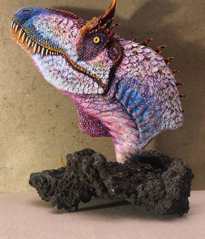 New Feathered Cryolophosaurus ellioti bust by PaleoPastori