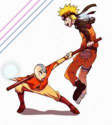 Aang VS Naruto by dimezanime88 by NarutoxAvatarTLA