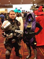 Tali and Shepard by silveryfox