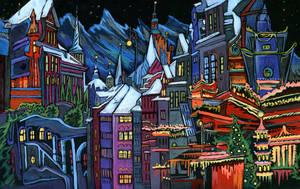 The city at night. The holiday began by KlementinaMoonlight