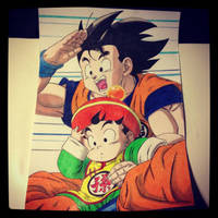 Goku and Gohan by Karina-o-e