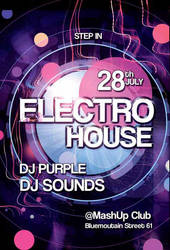 Free Electro Party Flyer Template by AwesomeFlyer
